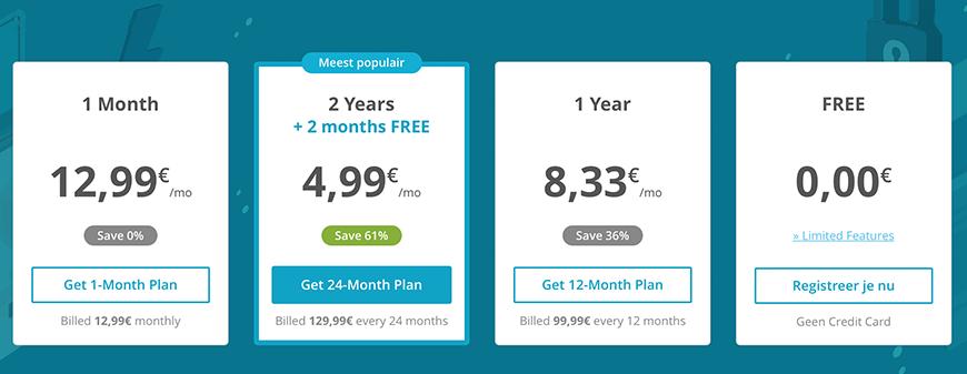 GOOSE VPN prijzen pakketten