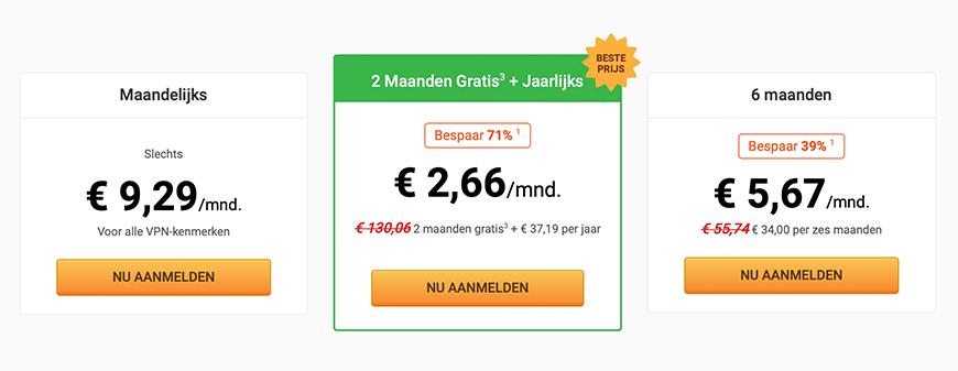 PIA prijzen pakketten