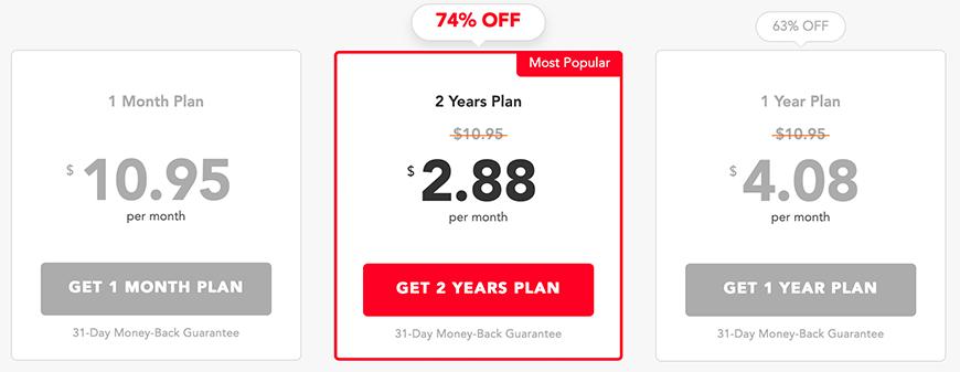 Pure VPN prijzen pakketten