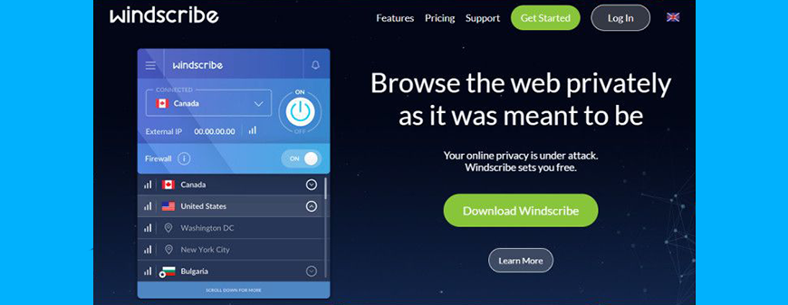 Windscribe VPN review website