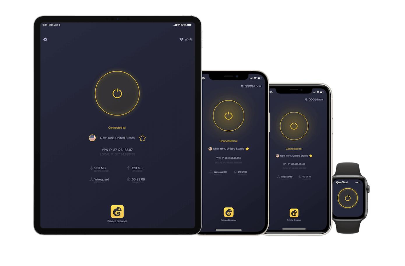 Cyberghost app screenshots